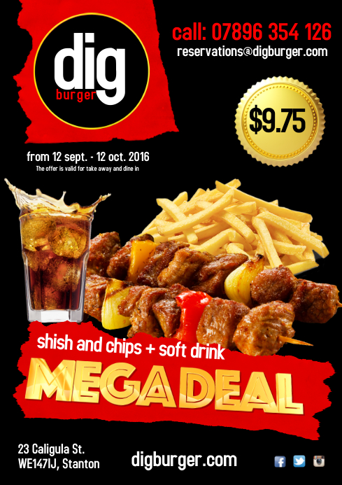 Shish and Chips deal Poster A4 template