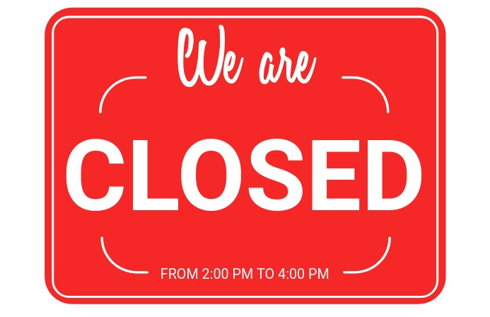 Shop Closed Sign Tabloid template