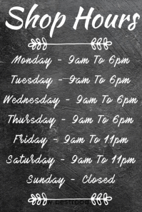 Shop Hours Poster Template Affiche