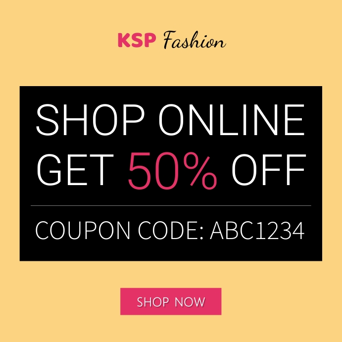 Shop Online Coupon Code Fashion Ad Instagram Post template