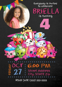 Shopkins Birthday Invitation