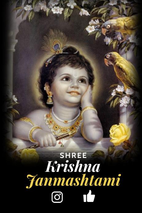 Shree Krishna Janmashtami Template Póster