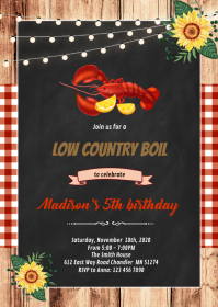 Shrimp Low Country Boil Invitation A6 template