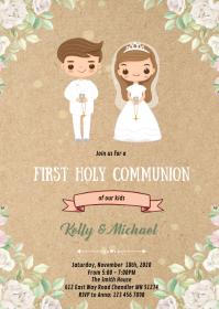 Sibling communion invitation A6 template