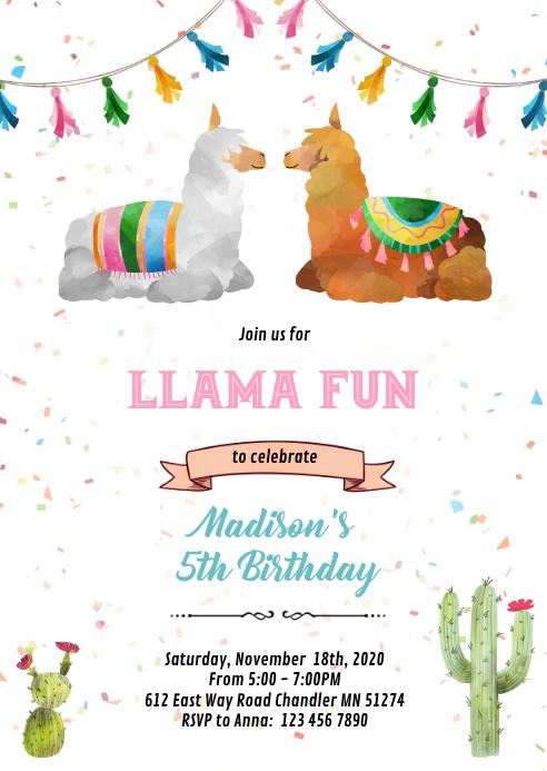 Sibling llama birthday Invitation A6 template