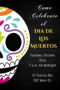 Dia De Los Muertos Poster Templates PosterMyWall - Day of the dead party invitation template