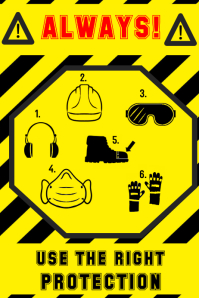 sign - helmet goggles earmuffs steel toe boot