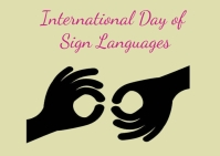 sign language day Poskaart template