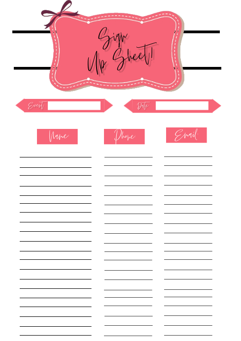 Sign up Sheet A4 Flyer Template