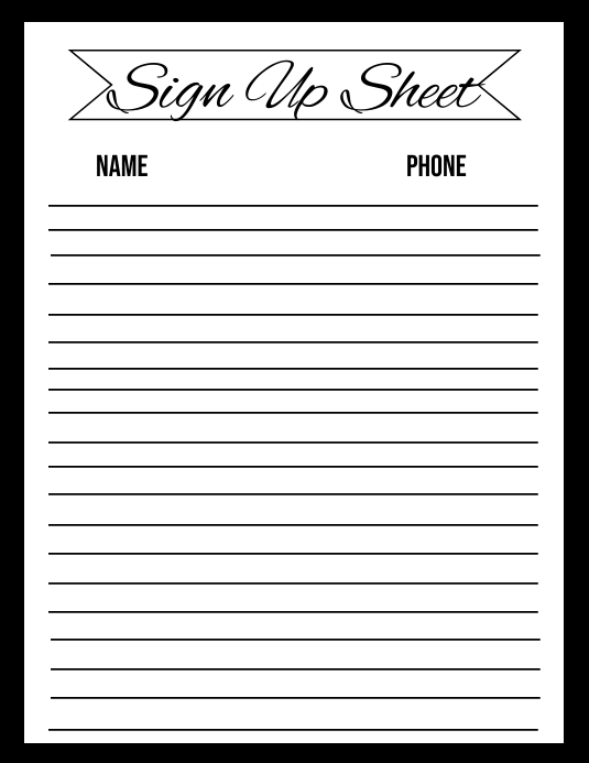 Sign Up Sheet Template Folder (US Letter)