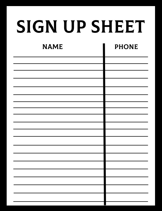 Sign Up Sheet Template Volantino (US Letter)