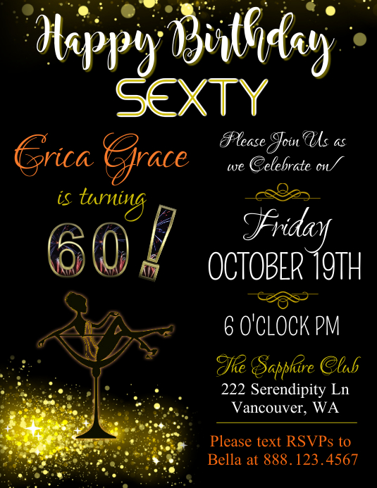 "Significant Birthday ""Sexty"" Flyer Template"