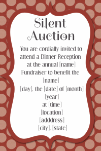 Silent Auction Dinner Reception Dance Fundraiser Invitation  Fundraising Invitation Samples