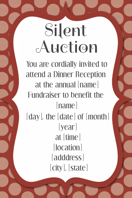 Silent Auction Dinner Reception Dance Fundraiser Invitation