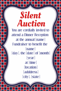 Silent Auction Dinner Reception Fundraiser Invitation Flyer Affiche template