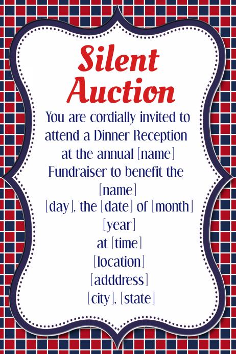 silent auction dinner reception fundraiser invitation flyer template