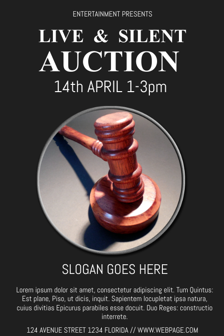 silent auction flyer template postermywall