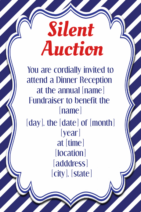 Silent auction invitation flyer template small business for Auction program template