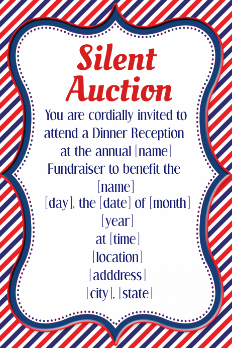 Silent Auction Nautical Dinner Reception Fundraiser Poster Plakat template