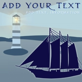 silhouette of old fashioned ship boat on the ocean with light house