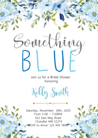 Silver and blue bridal shower invitation