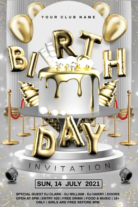 Silver birthday video Póster template