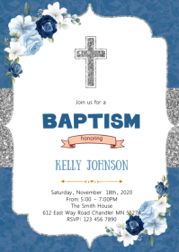 Silver blue baptism party invitation A6 template