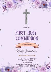Silver communion invitation purple A6 template