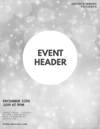 Silver Gala bokeh flyer design template