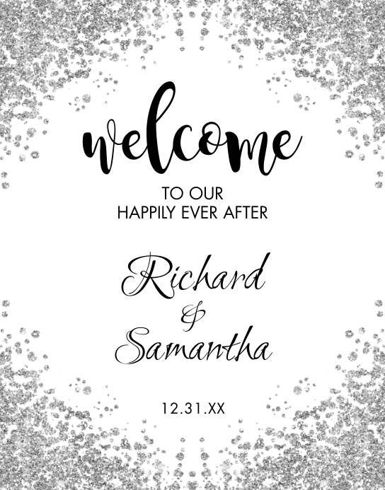 Silver Glitter Wedding Welcome Sign Poster/Wallboard template