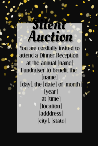 Silver Gold Confetti Poster Flyer Invitation Fundraiser