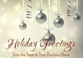 Silver Ornaments Minimal Business Greeting Ca Postcard template