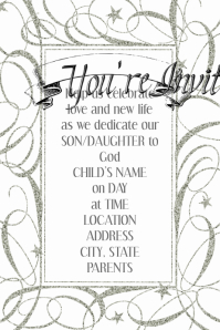 Silver Star Ornate Invitation Flyer Template