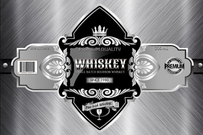 Silver Whiskey Этикетка template