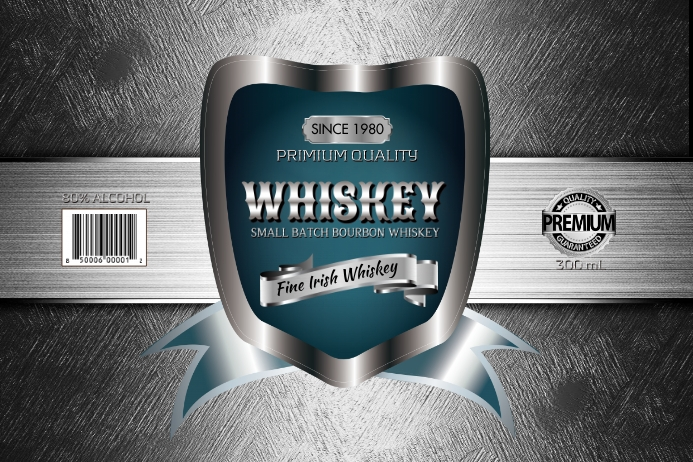 Silver Whiskey Label template