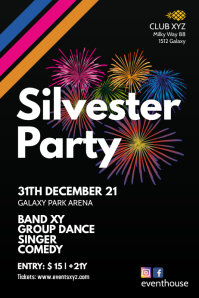 Silvester Party New Year celebration Event Ad
