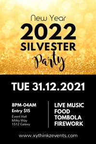Silvester Party New Year Celebration Event Ad Plakkaat template