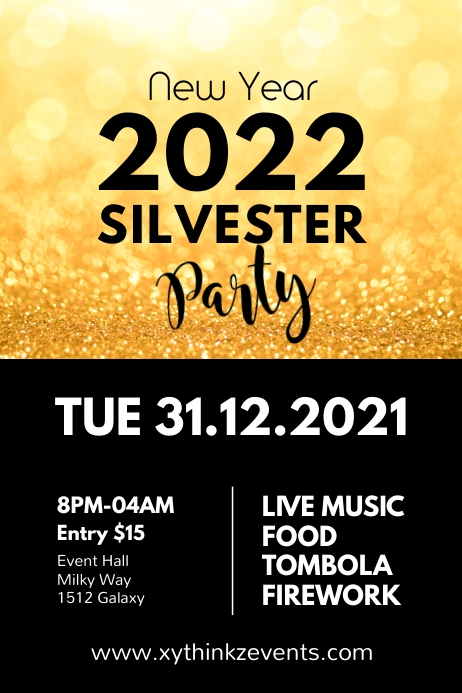 Silvester Party New Year Celebration Event Ad Plakat template