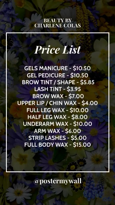 Simple Beauty Price List for Instagram Story template