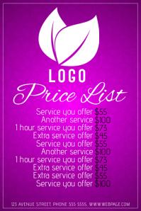 simple beauty salon price list purple pink template