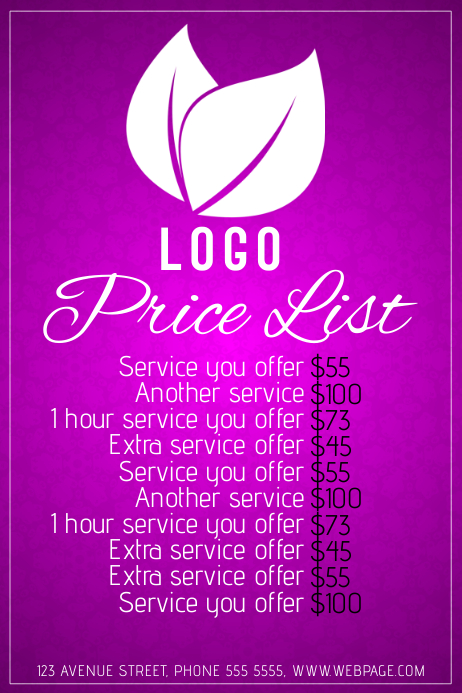Simple Beauty Salon Price List Purple Pink Template Postermywall
