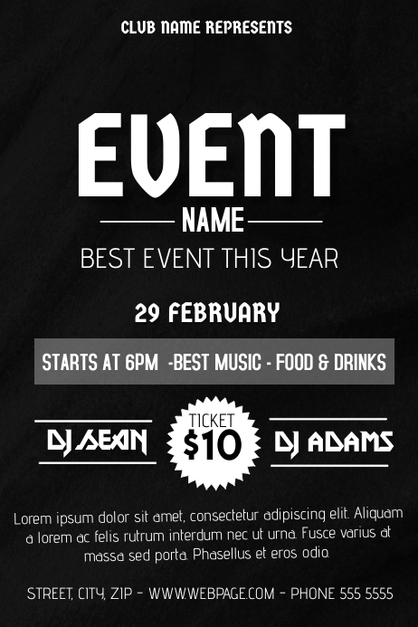 simple black event flyer template