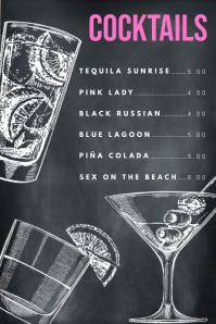 Simple Chalkboard Cocktails Menu Template Affiche