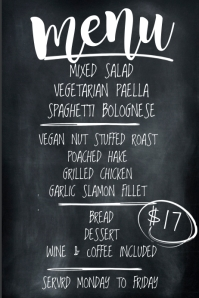 Simple Chalkboard Menu of the Day Template Poster