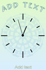 simple clock with delicate lace pattern in pastel colors of blue and green