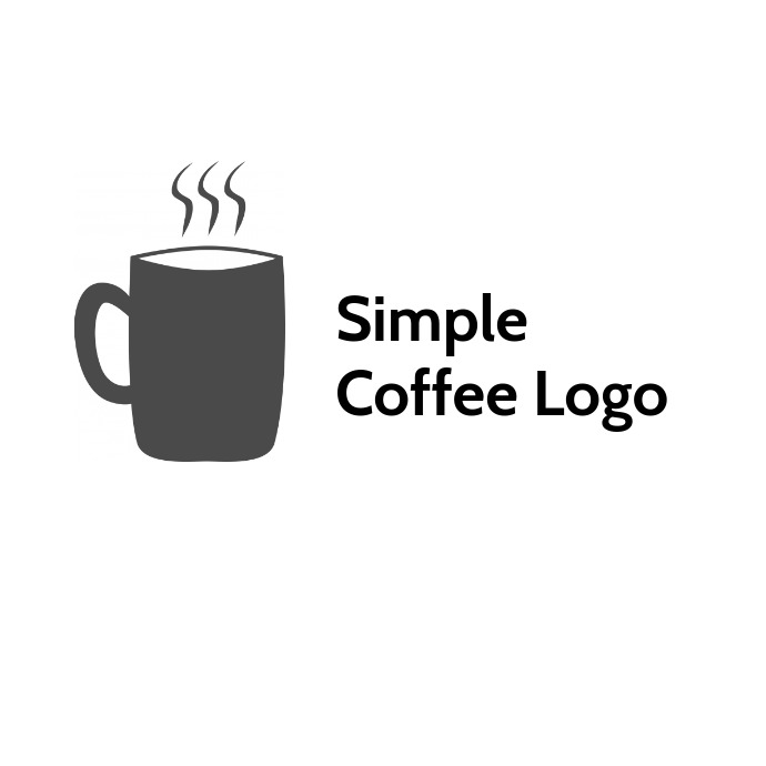 Simple coffee logo black and white template
