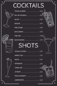Simple Drinks Cocktail Menu Template