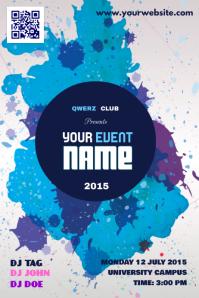Simple event advertisement flyer - Blue paint style