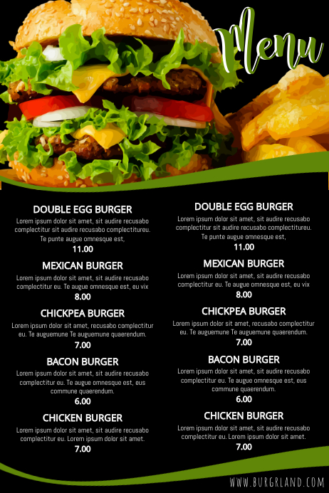 Simple food restaurant menu template postermywall for Easy menu templates free