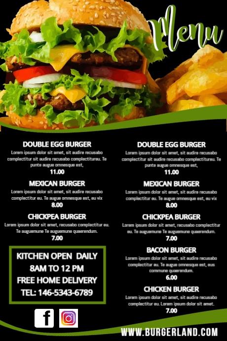 Simple Food Restaurant Menu Template Poster